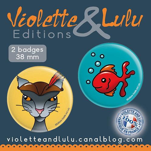 Badges Chat/Poisson vendus par 2