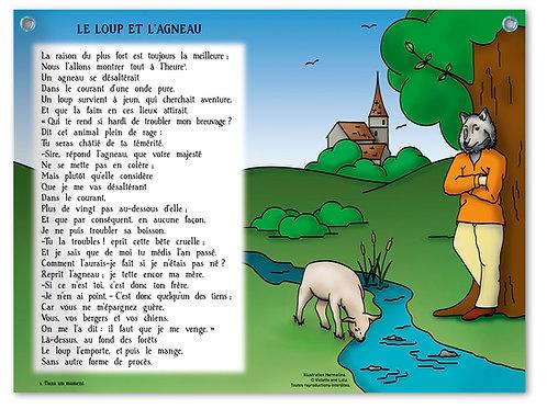 """Planche murale """"Fables de La Fontaine"""" - Loup"""