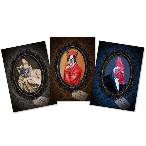 "Cartes postales ""Bestiaire"" X3"
