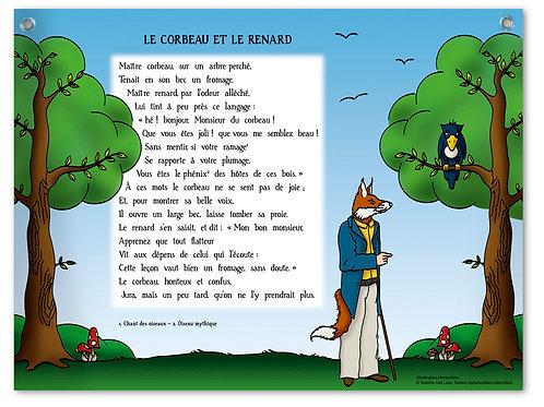 """Planche murale """"Fables de La Fontaine"""" - Corbeau"""