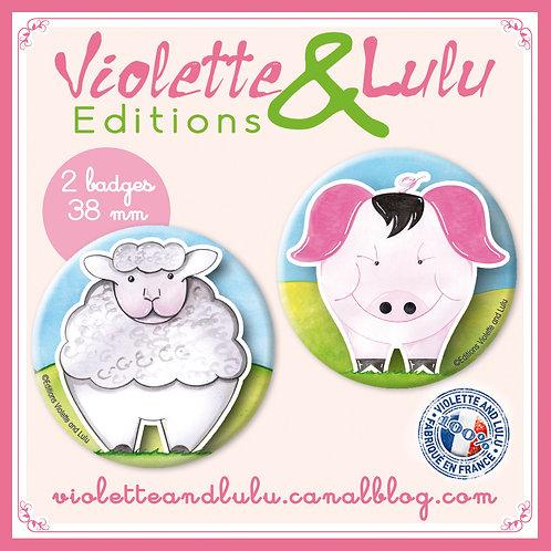 Badges Cochon/Mouton vendus par 2