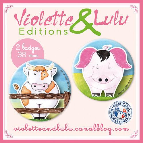 Badges Cochon/Vache vendus par 2