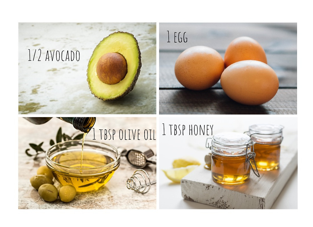mix avocado, egg, olive oil and honey for a DIY hair mask