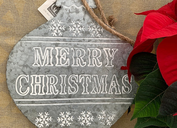 Outdoor Tin Ornament - Merry Christmas
