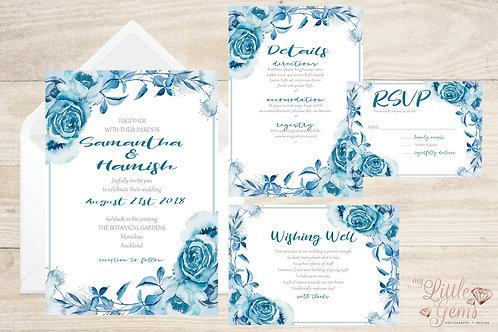 Wedding Stationary - Blue Floral