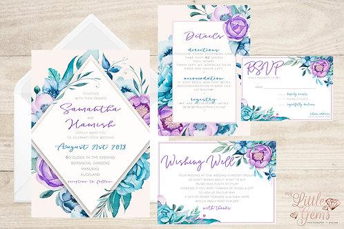 Wedding Stationary - Purple Floral