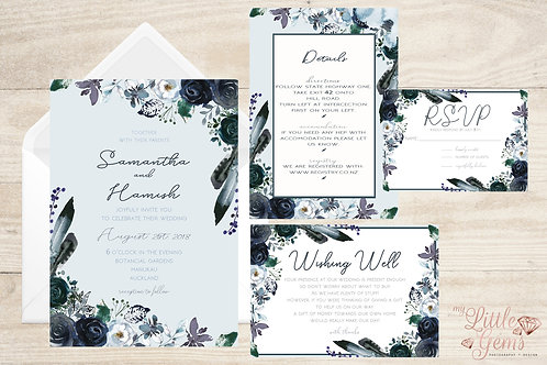 Wedding Stationary - Navy Boho