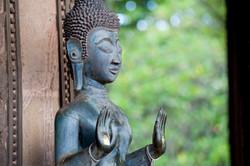 Laos - Luang Prabang - bronze buddha sta