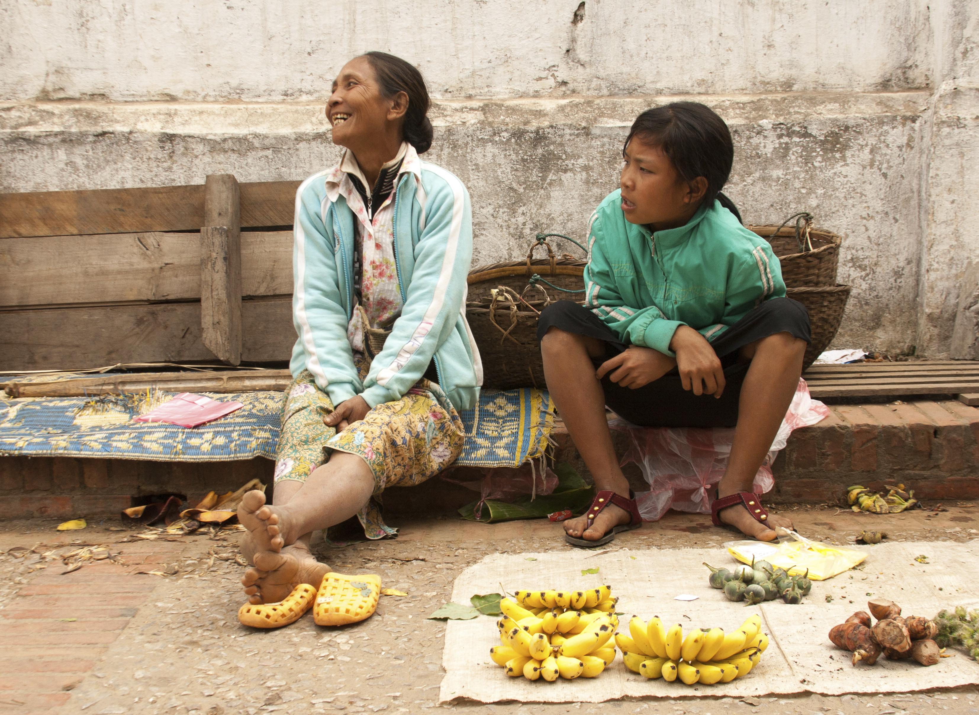 Laos - Luang Prabang - Banana Vendor Lau