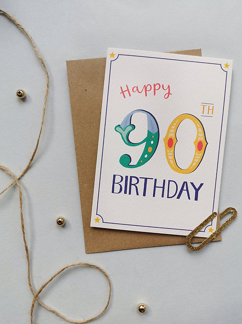 90th Birthday Card (Pack 6)