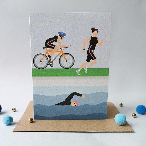 Triathlon Birthday Card