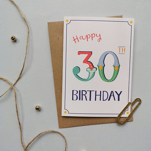 30th Birthday Card (Pack 6)