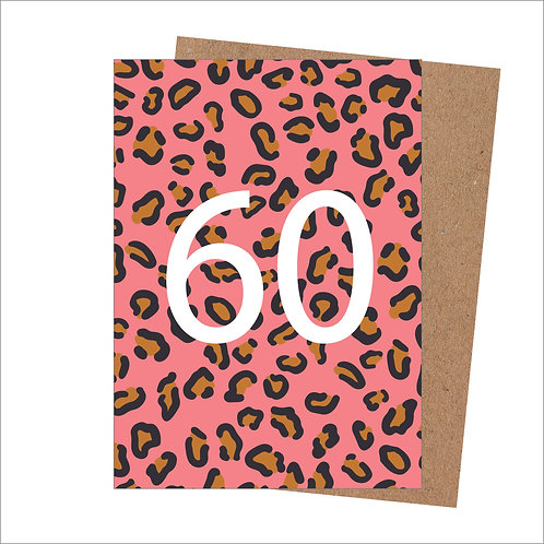 60th Birthday Card Leopard (Pack 6)