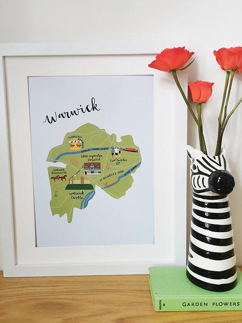 Warwick Map Print