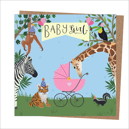 Baby Girl Animal Card