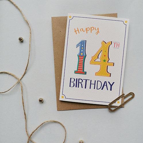 14th Birthday Card (Pack 6)