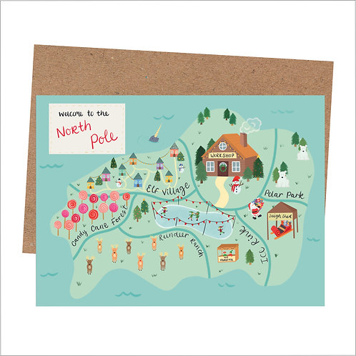 North Pole Map Christmas Card (6 Individual Cards)