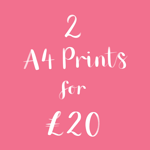 2 A4 Prints for £20