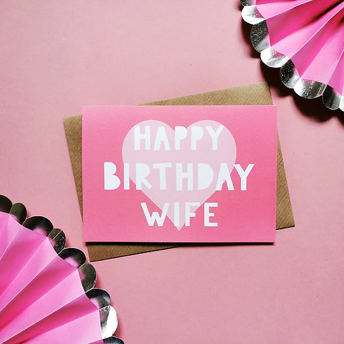 Happy Birthday Wife Card (Pack of 6)
