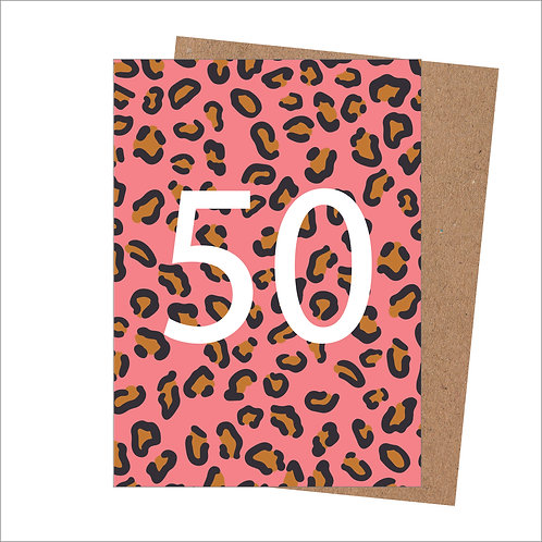 50th Birthday Card Leopard (Pack 6)