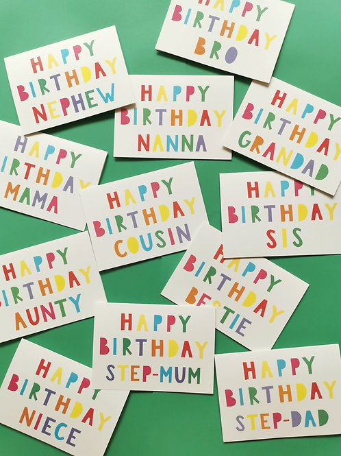 Family Birthday Cards (Pack of 6)