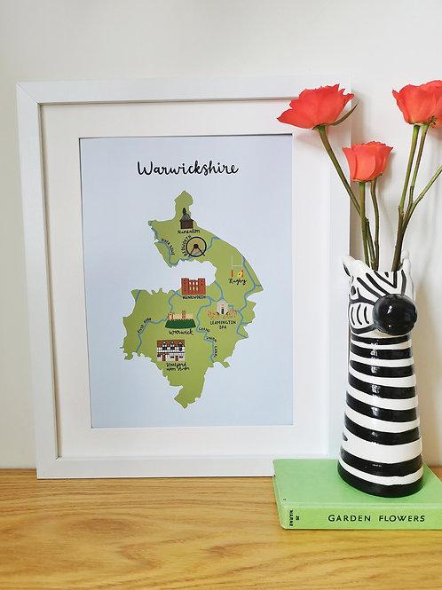 Warwickshire Map Print