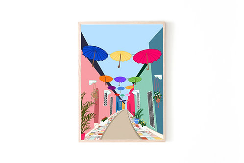 Umbrella Street Print