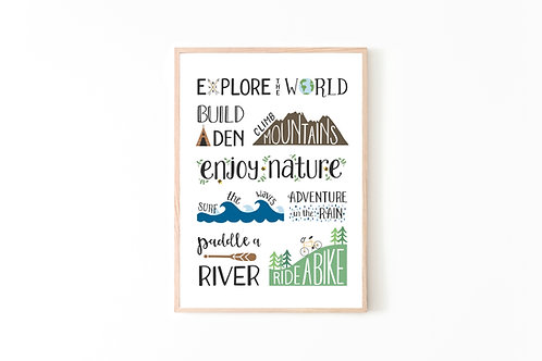 Explore The World Print