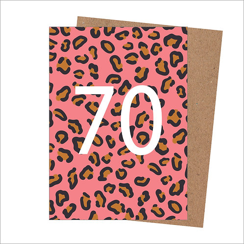 70th Birthday Card Leopard (Pack 6)
