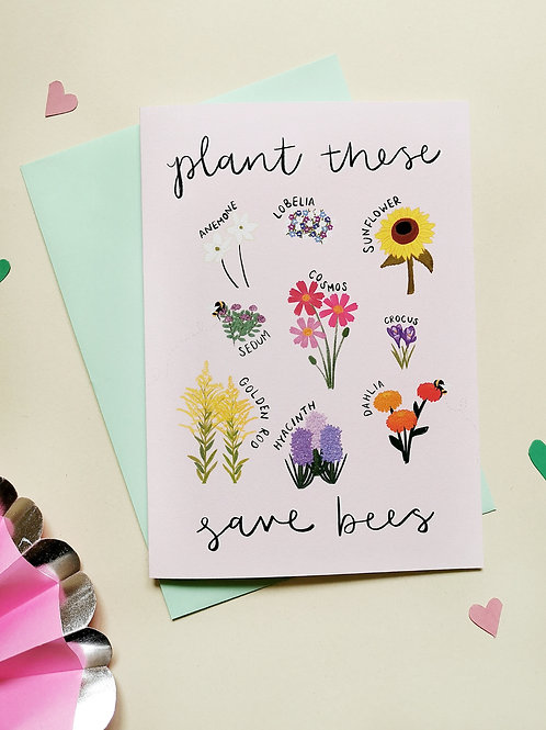 Plant These Save Bees Card