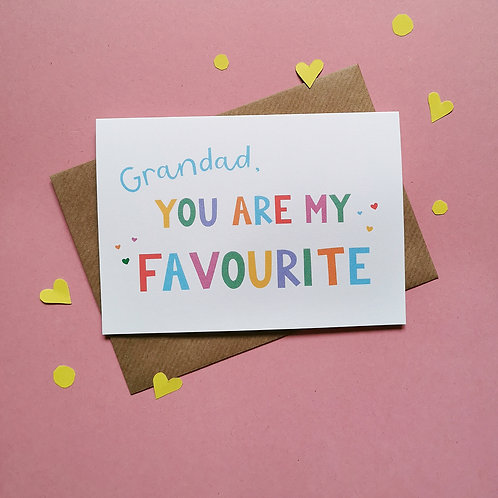 Grandad You Are My Favourite Card (Pack of 6)