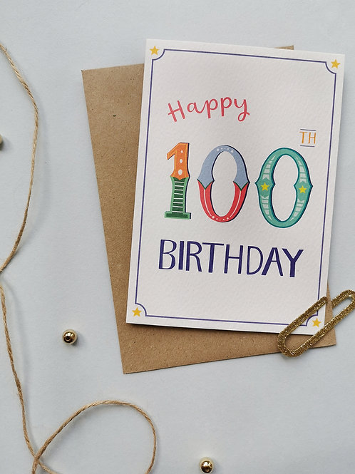 100th Birthday Card (Pack 6)