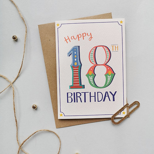18th Birthday Card (Pack 6)
