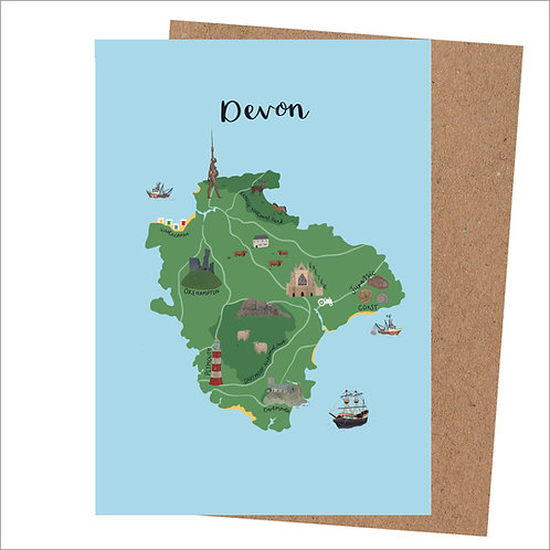 Devon Map Card (Pack 6)