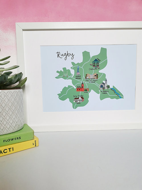 Rugby Map Print