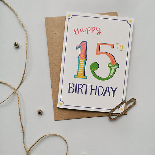 15th Birthday Card (Pack 6)