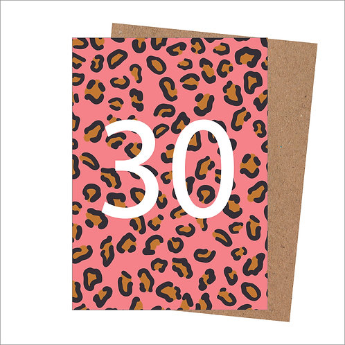 30th Birthday Card Leopard (Pack 6)
