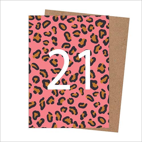 21st Birthday Card Leopard (Pack 6)
