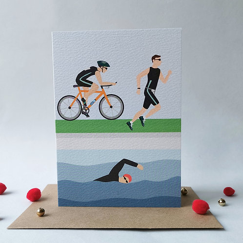 Triathlon Birthday Card