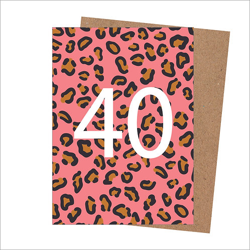 40th Birthday Card Leopard (Pack 6)