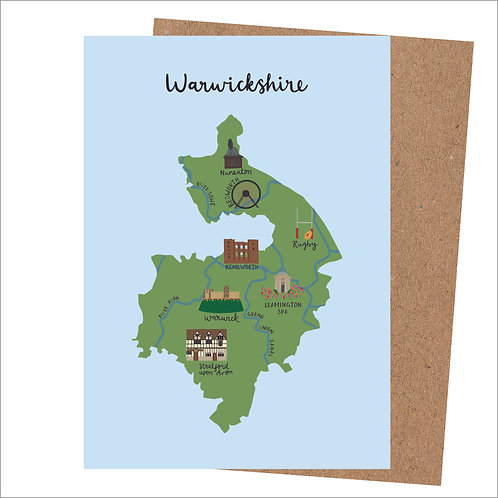 Warwickshire Map Card (Pack 6)