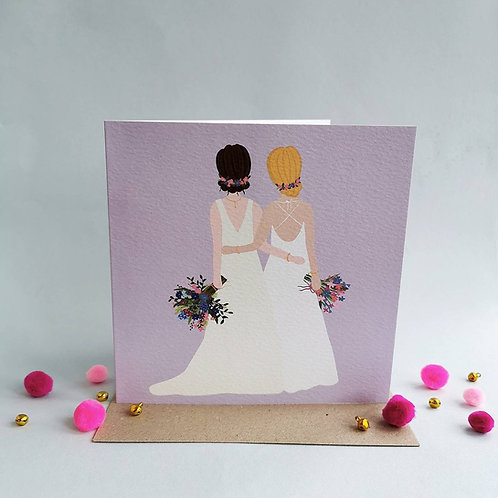 Mrs and Mrs Wedding Card (Pack 6)