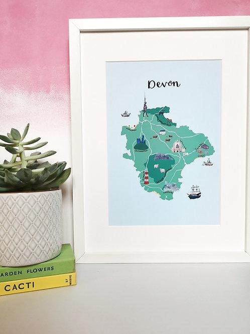 Devon Map Print