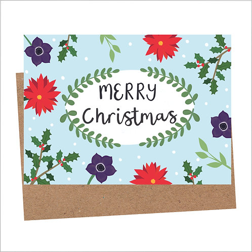 Merry Christmas Flower Card (6 Individual Cards)