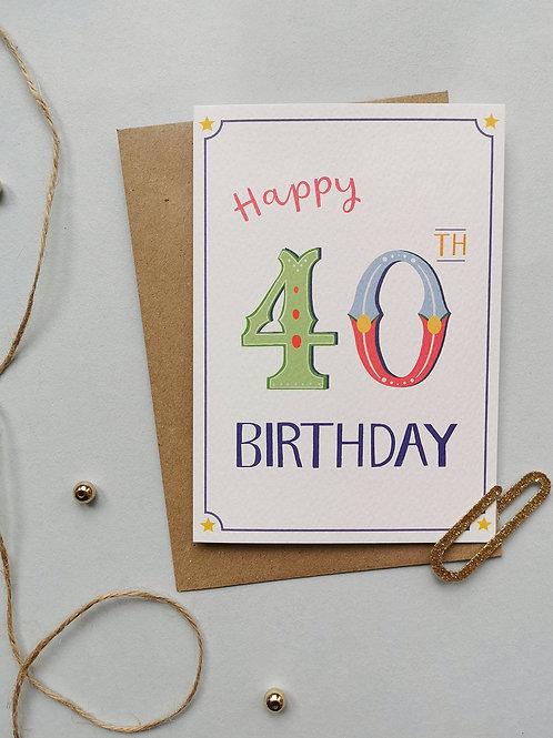 40th Birthday Card (Pack 6)