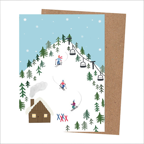 Skiing Christmas Card