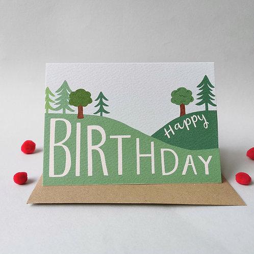 Tree and Hills Birthday Card