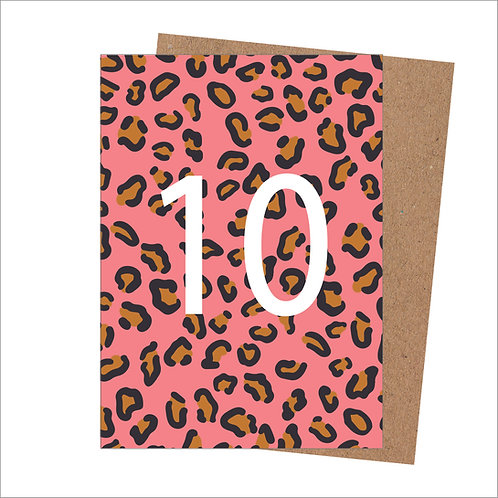 10th Birthday Card Leopard (Pack 6)