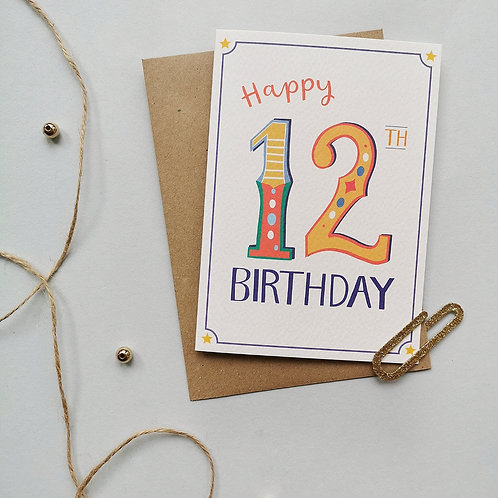 12th Birthday Card (Pack 6)