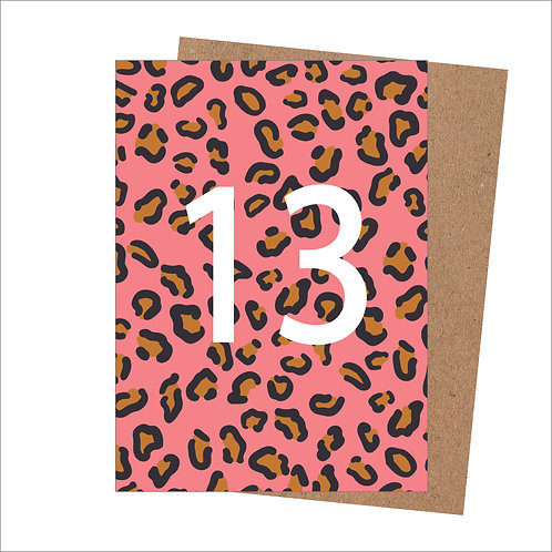 13th Birthday Card | Leopard Print Card